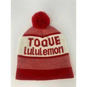 Lululemon Toque Beanie Red White Pom Pom Hat One Size Acrylic Knit